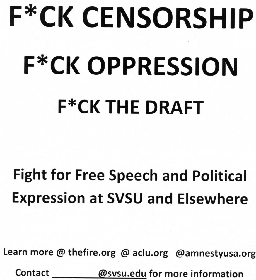 Censored 'F*ck Censorship' Poster at Saginaw Valley State University-case-doc